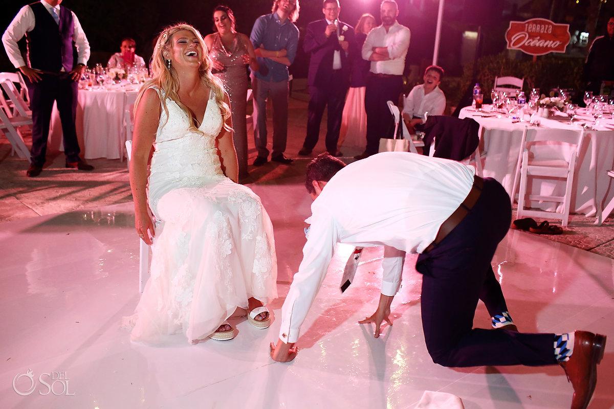 garter toss wedding reception Ocean Terrace Hard Rock Riviera Maya