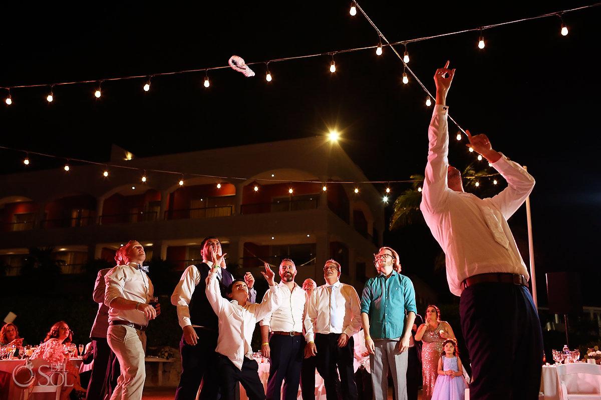 Garter toss Ocean Terrace Hard Rock Riviera Maya Wedding Reception