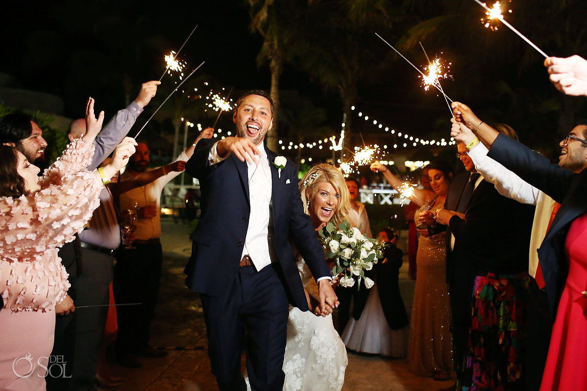Sparkler exit wedding reception Ocean Terrace Hard Rock Riviera Maya