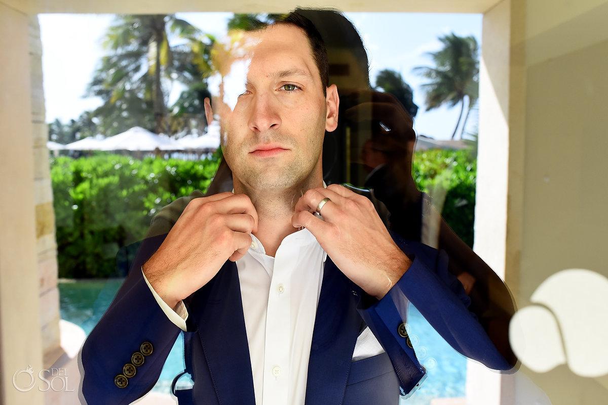 groom getting ready Secrets Akumal Riviera maya mexico
