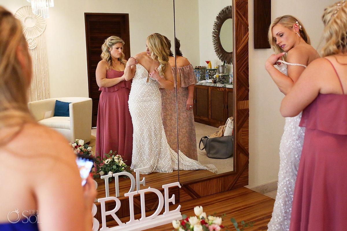 bride getting ready Secrets Akumal Bridal Suite Riviera Maya Mexico