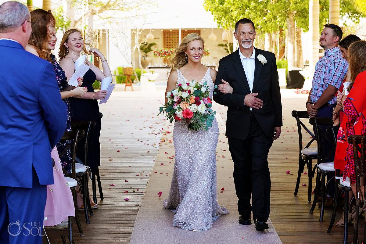 Bride entrance Secrets Akumal Arch Wedding Riviera Maya Mexico