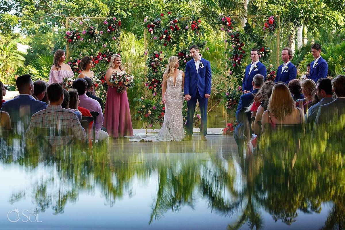 Romantic Tropical wedding decor flower wall Secrets Akumal Arch Wedding Riviera Maya Mexico