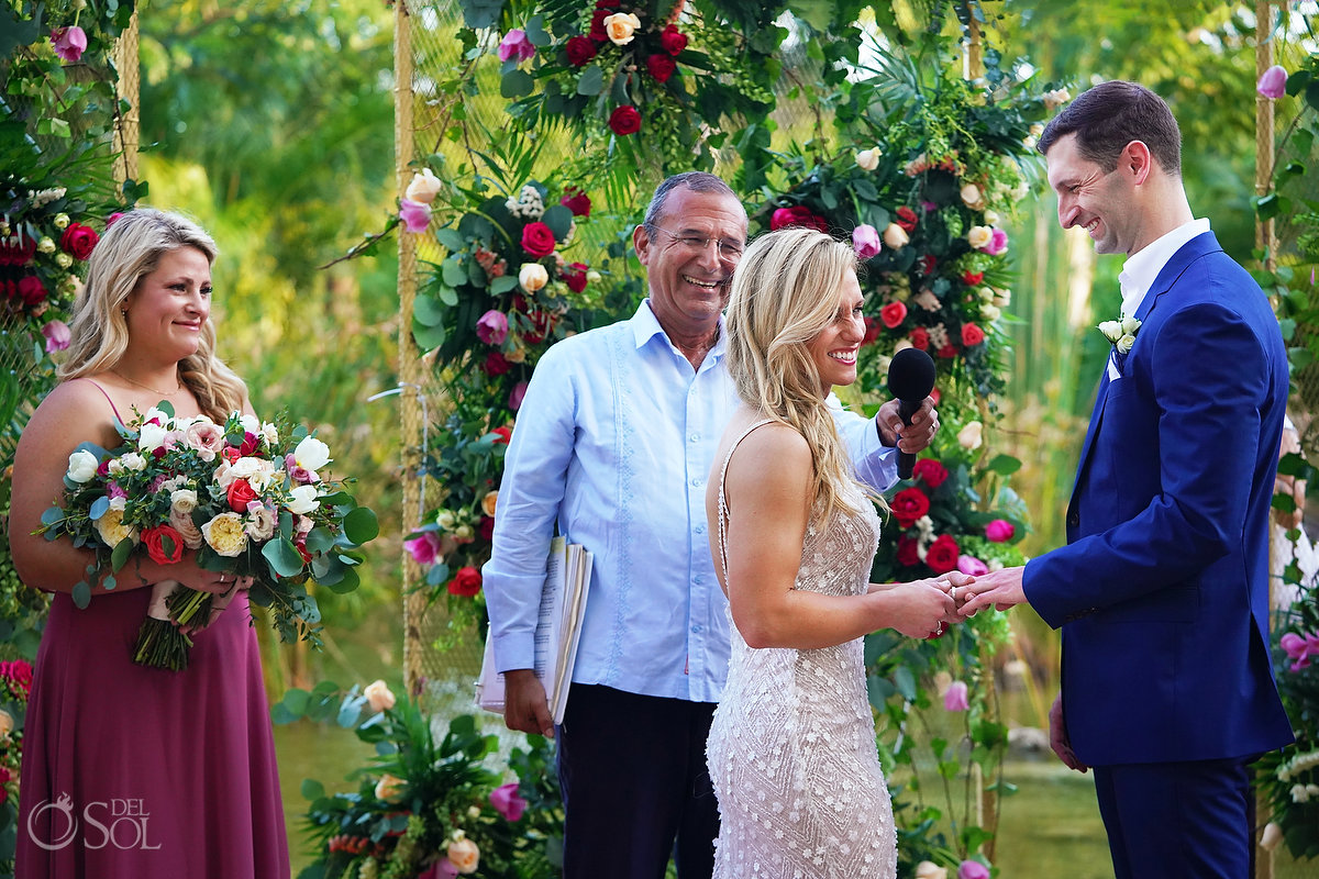 ring exchange Secrets Akumal Arch Wedding Riviera Maya Mexico