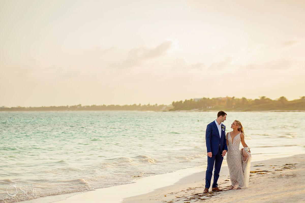 Secrets Akumal sunset beach wedding portrait Riviera maya mexico