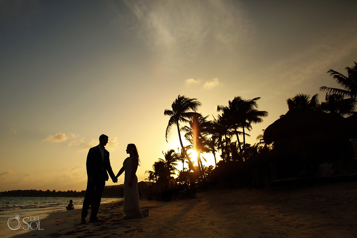 Secrets Akumal Sunset beach portrait bride groom silhouette