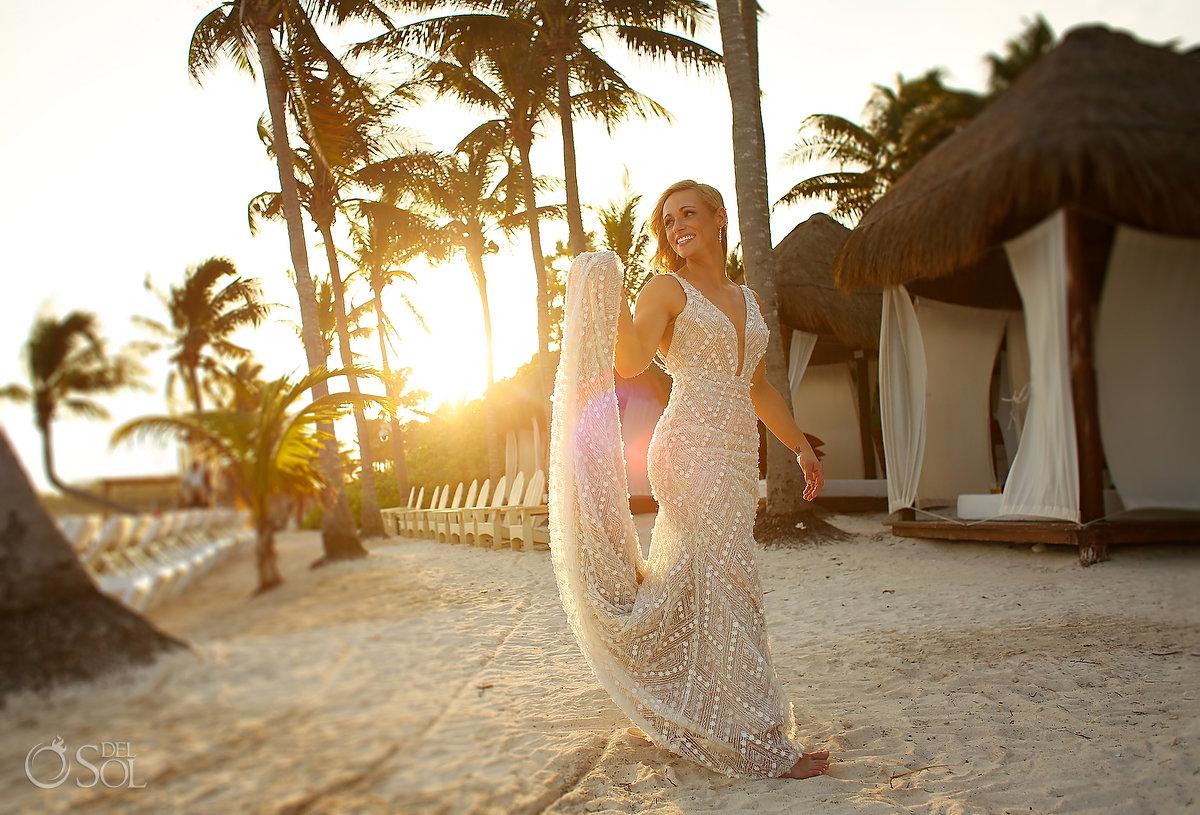 golden hour bride portrait Secrets Akumal Mexico