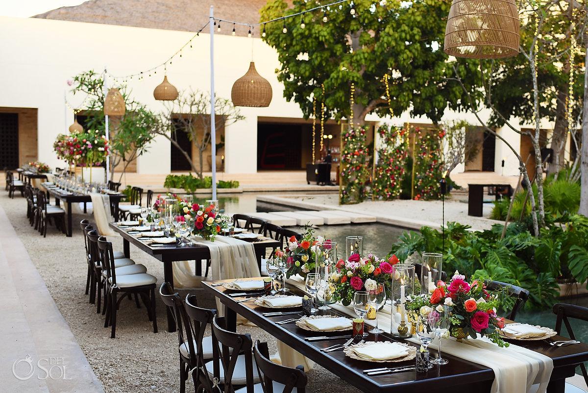 Romantic tropical wedding reception setup Secrets Akumal Plaza
