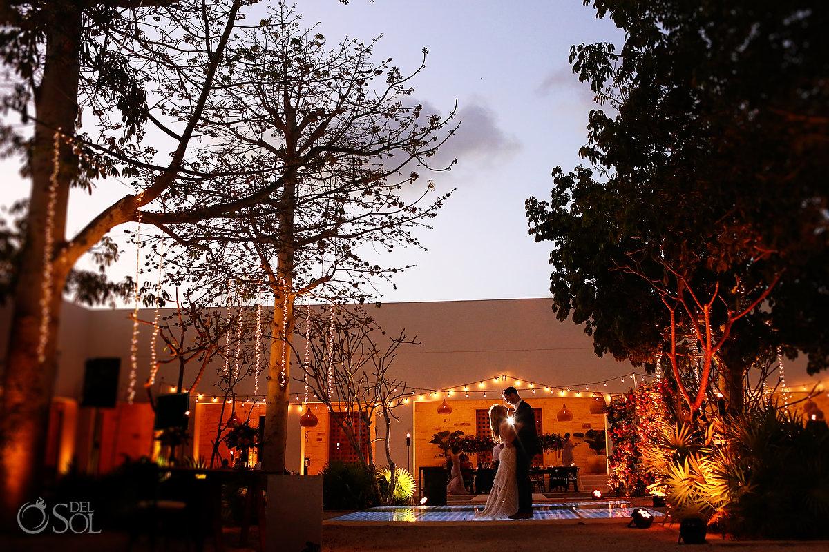 Secrets Akumal Plaza wedding reception sunset couple portrait