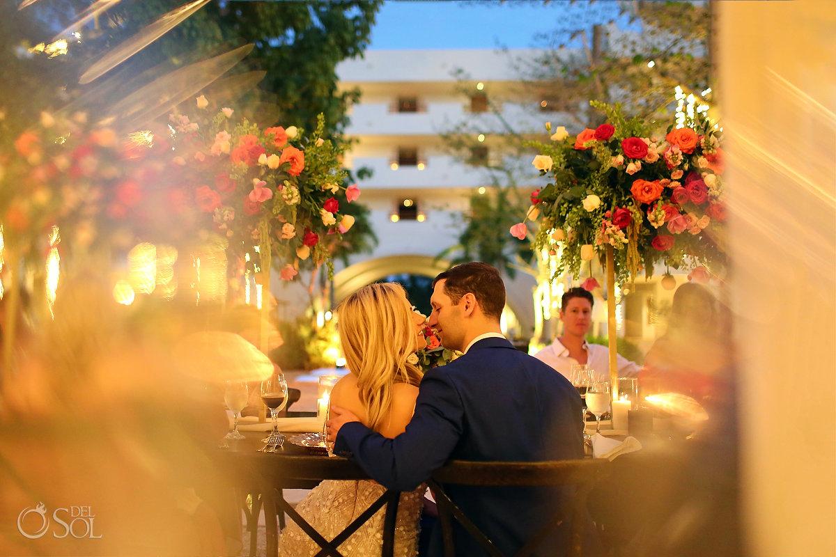 romantic dusk wedding portrait Secrets Akumal Plaza reception
