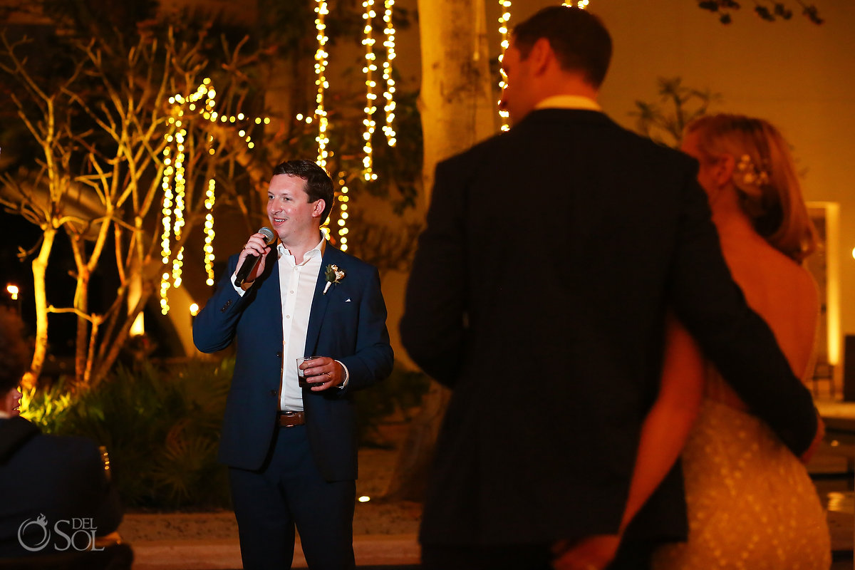 Speeches Secrets Akumal Plaza wedding reception