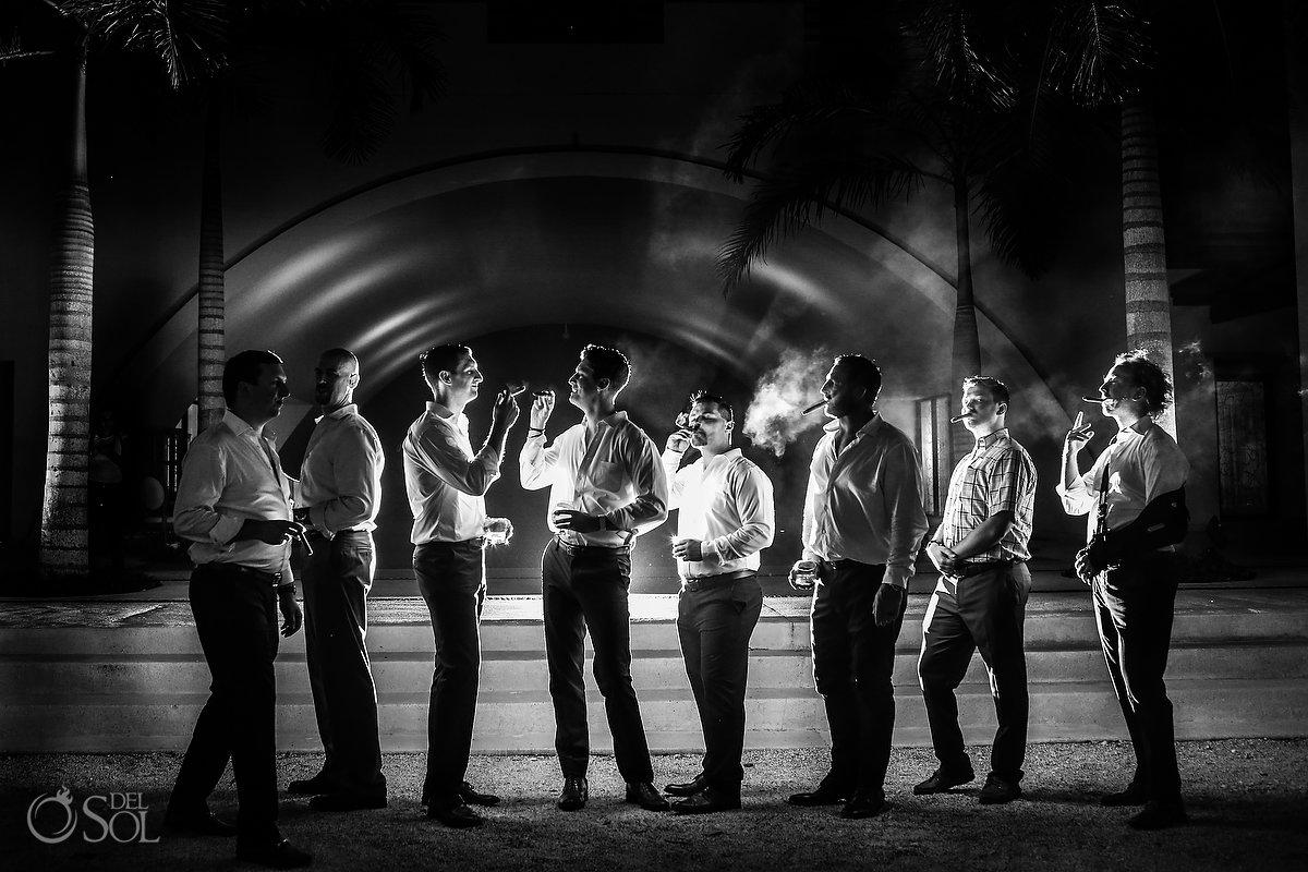 bridal party photo idea groomsmen smoking cigars