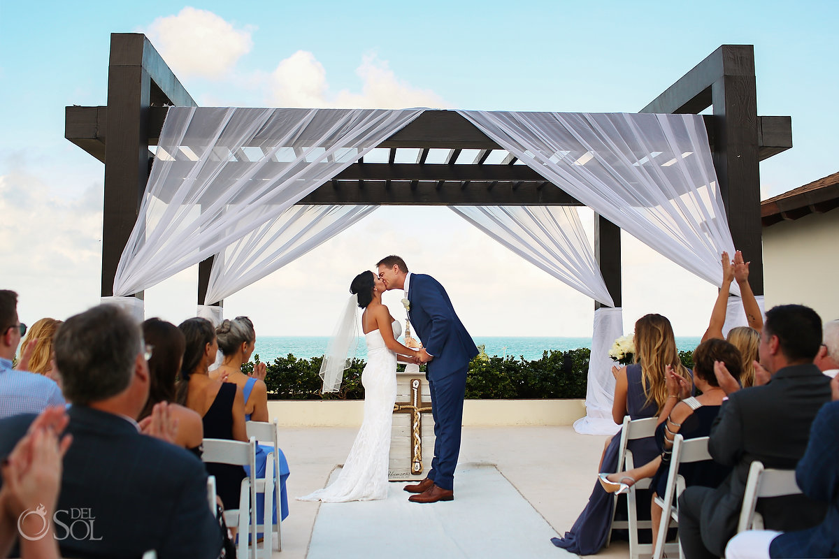 first Kiss secrets Playa Mujeres Gazebo Wedding Cancun Mexico