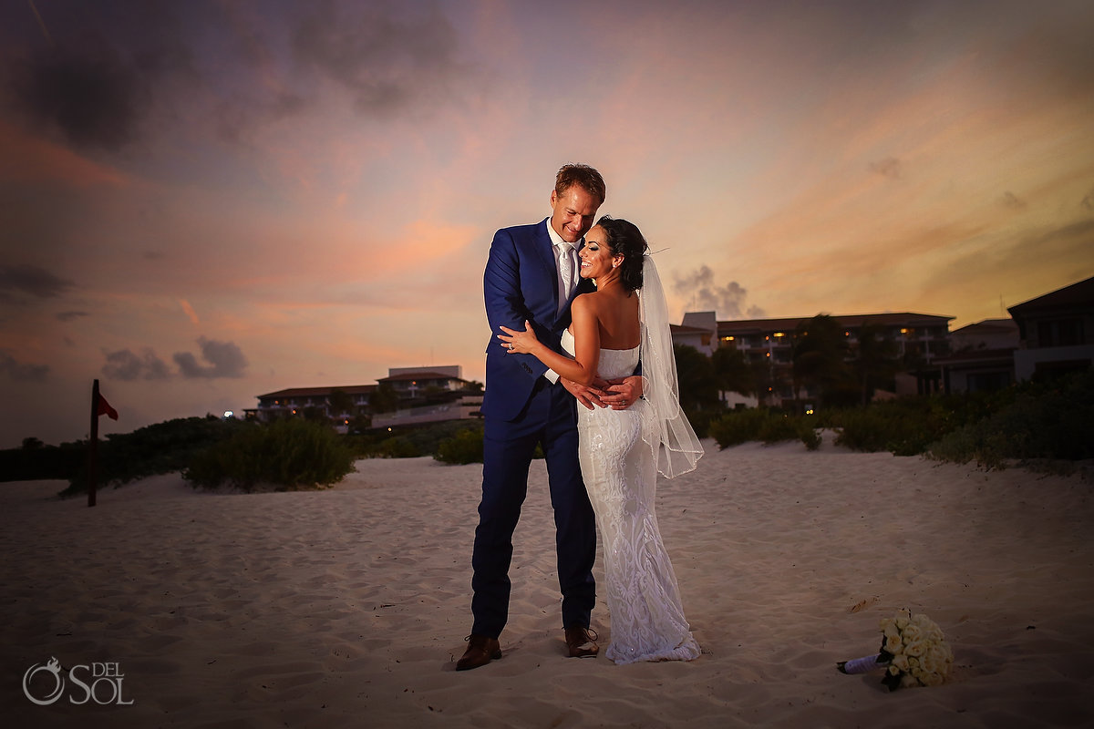 Bride and groom Sunset portrait Secrets Playa Mujeres
