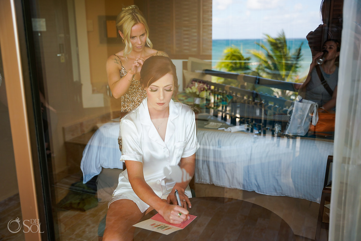 Bride getting ready Dreams Riviera Cancun rooftop terrace wedding