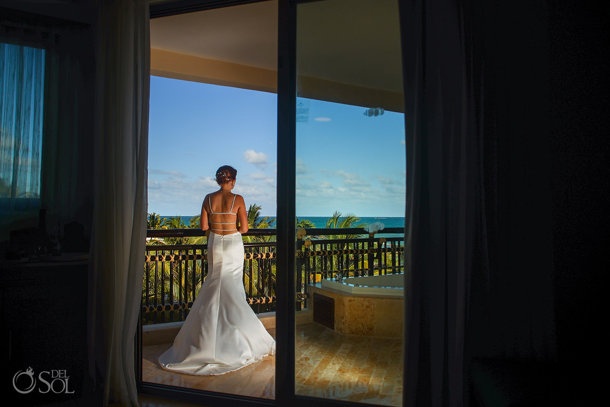 Bride getting ready Dreams Riviera Cancun rooftop terrace wedding. Riviera Maya Mexico