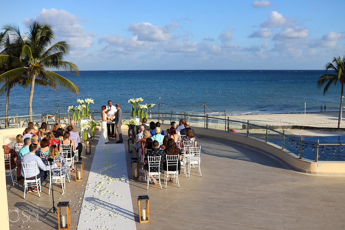 Dreams Riviera Cancun rooftop terrace wedding. Riviera Maya Mexico