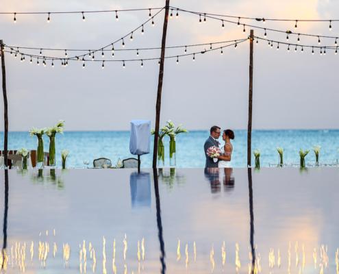 Dreams Riviera Cancun rooftop terrace wedding. Riviera Maya Mexico