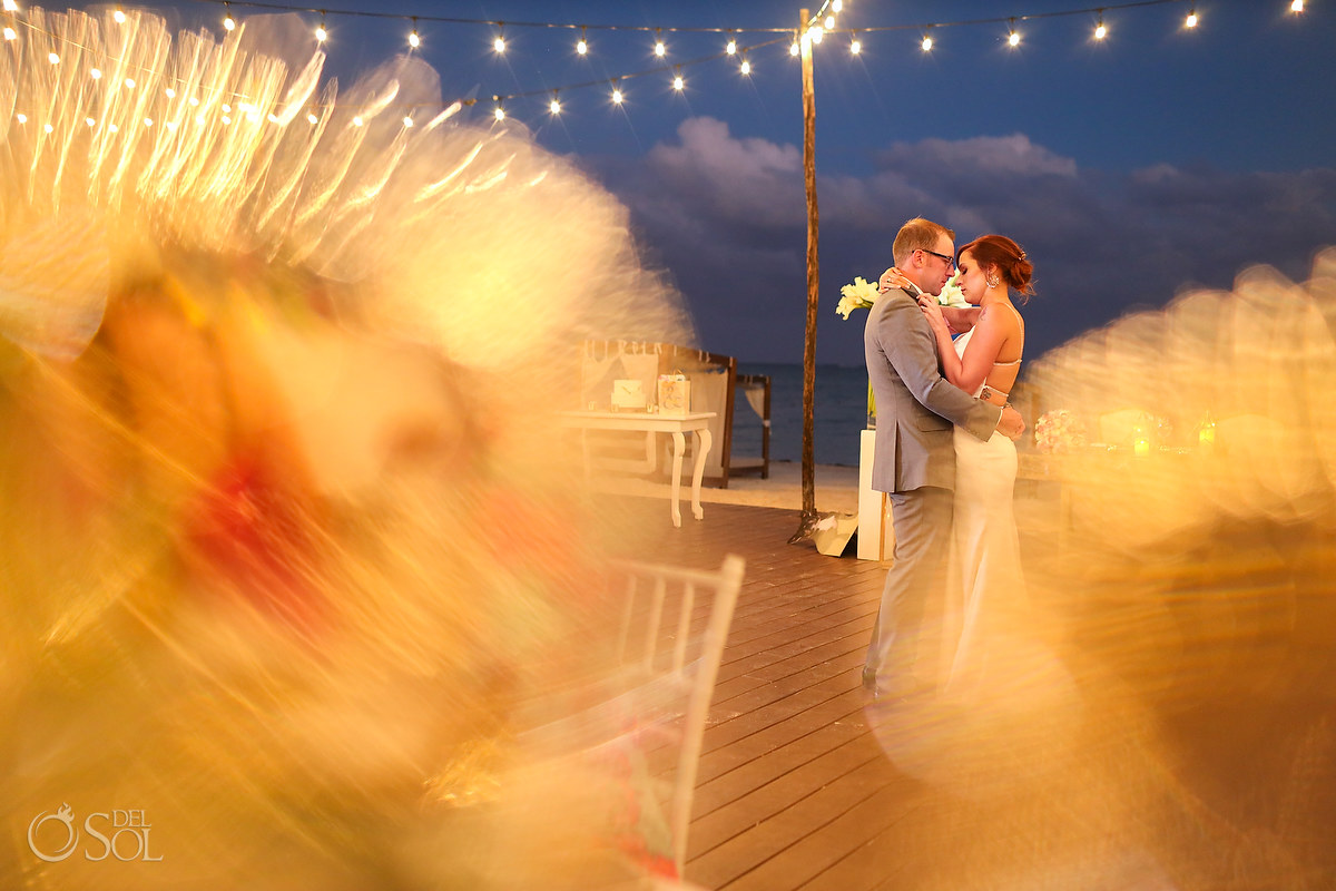Dreams Riviera Cancun rooftop terrace wedding first dance