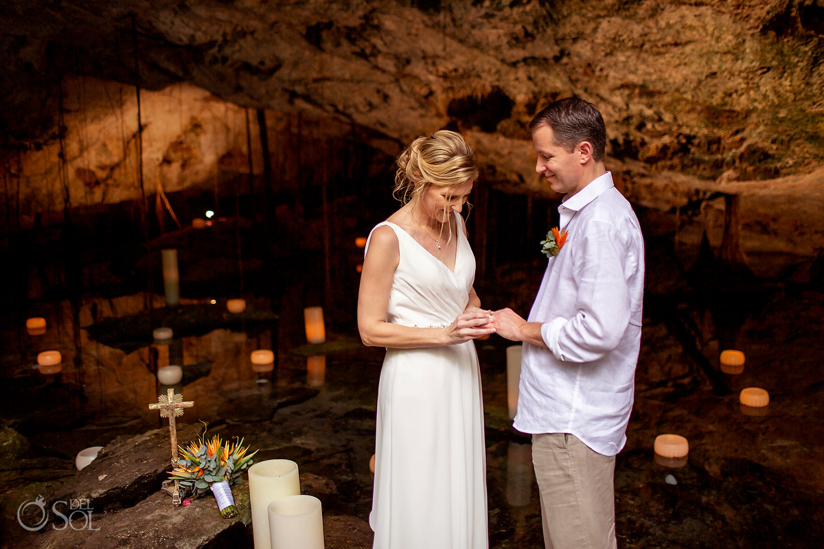 Ring exchange, cenote vow renewal Tulum Mexico