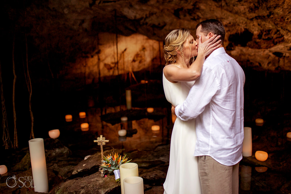 Vow renewal ideas Cenote ceremony with Candles in the mexican jungle
