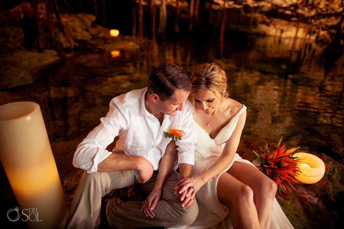 husband and wife cenote vow renewal portrait