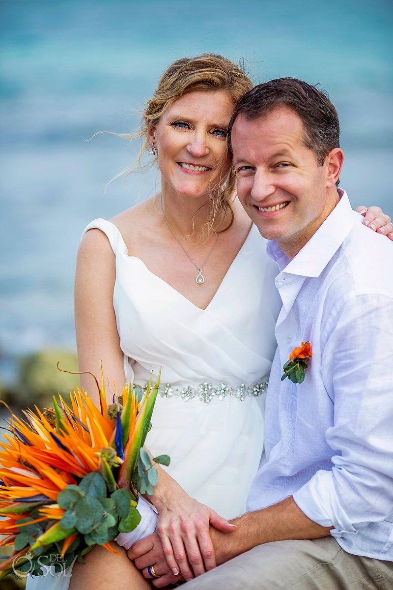 Bride and Groom portrait Dreams Tulum Beach mexico