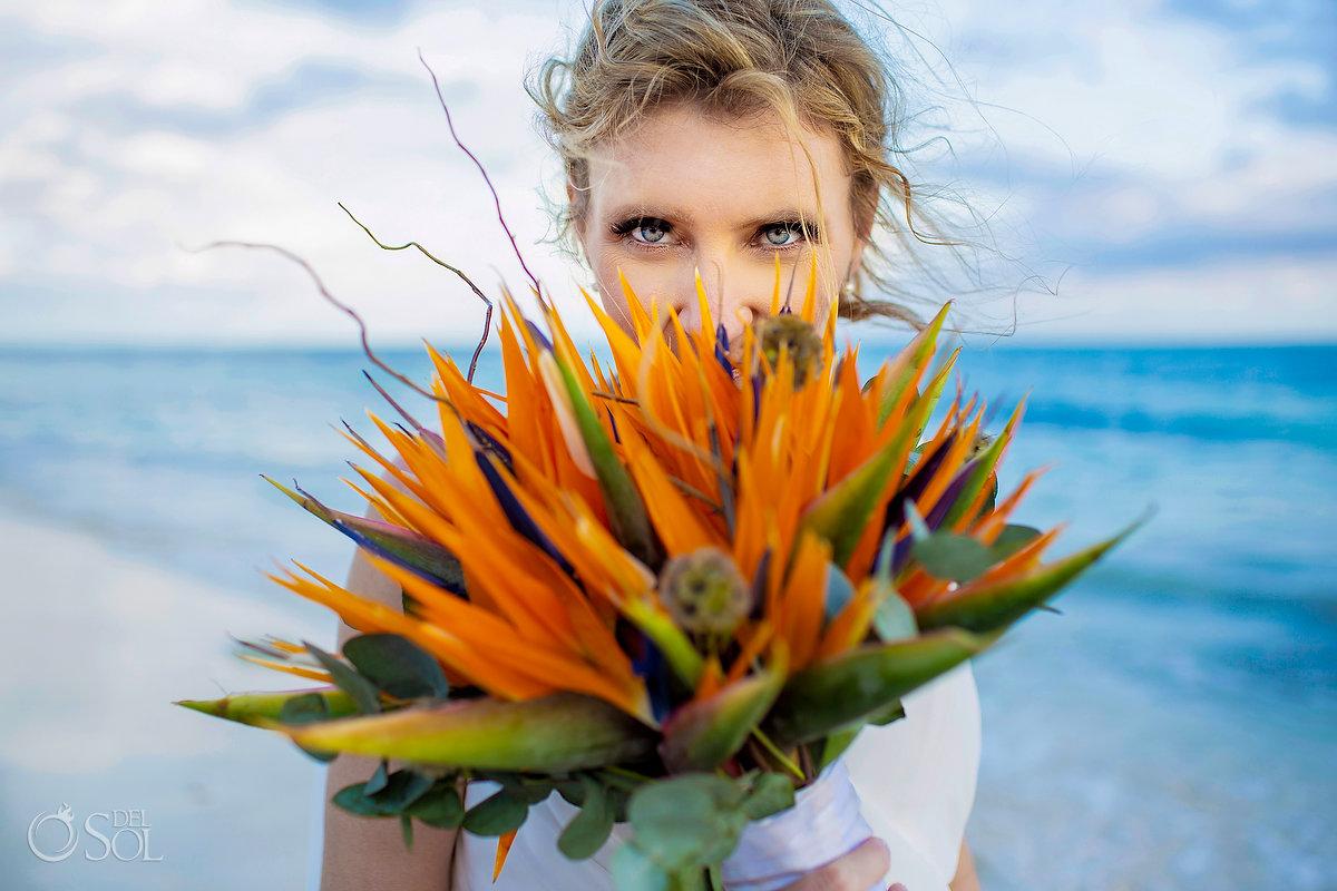 bride portrait bird of Paradise flower bouquet