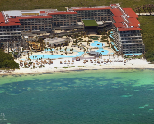 Dreams Natura Riviera Cancun Aerial photograph showing waterpark