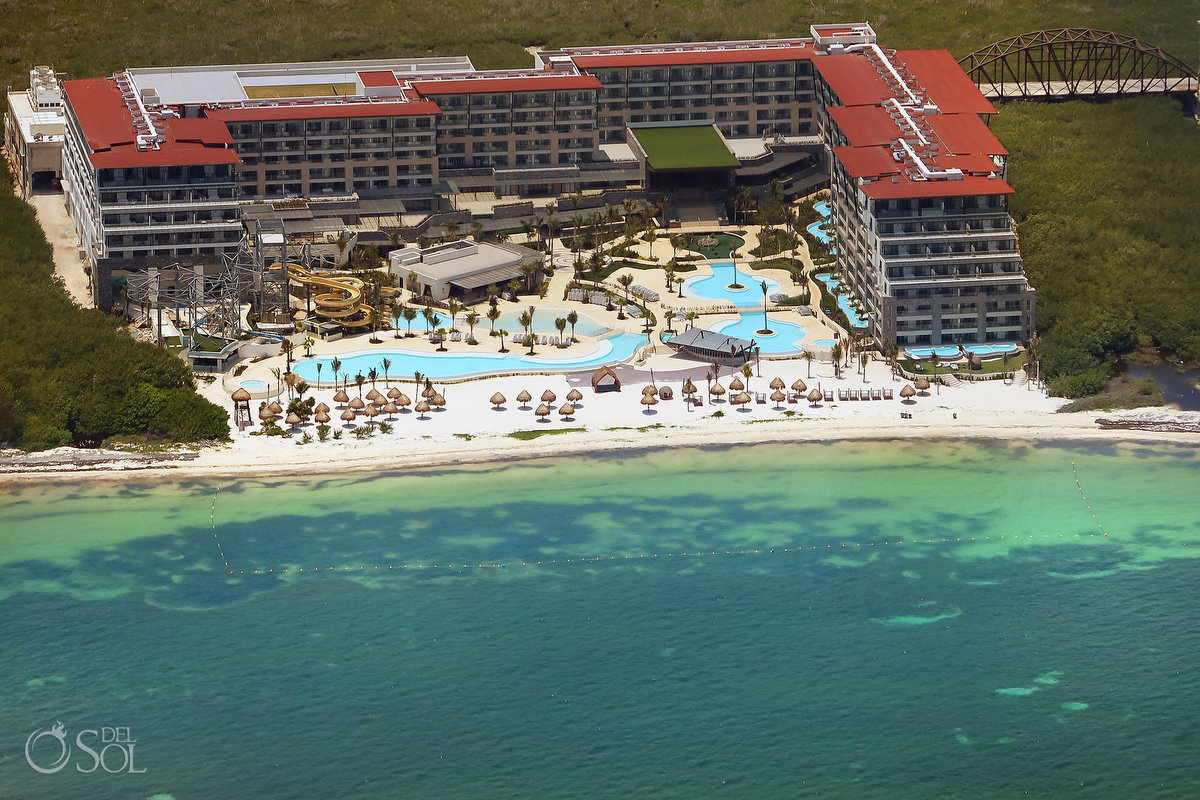 Dreams Natura Riviera Cancun Aerial photograph showing waterpark