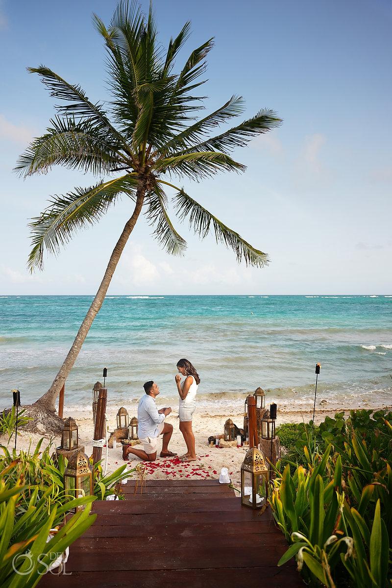Dreams Tulum Beach proposal Mexico Caribbean ocean and palm trees