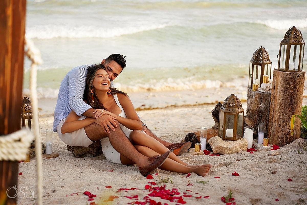 Dreams Tulum Beach proposal setup ideas boho lanterns candles red rose petals
