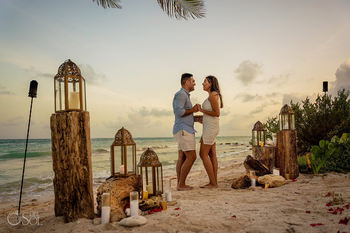 beach Proposal decoration ideas rustic boho candles, lanterns and driftwood Dreams Tulum Mexico