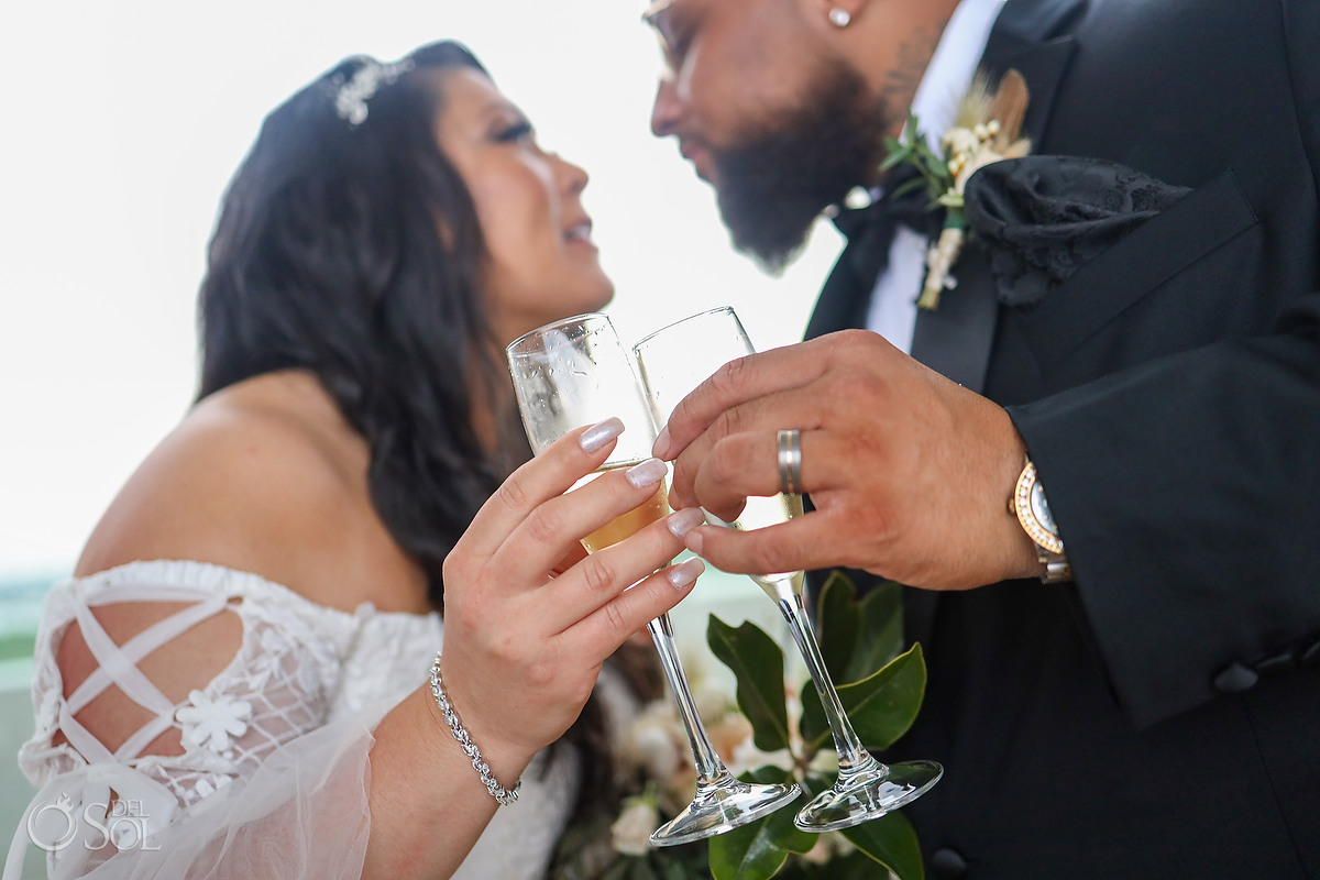 champagne toast Dreams Vista Cancun Wedding Giveaway