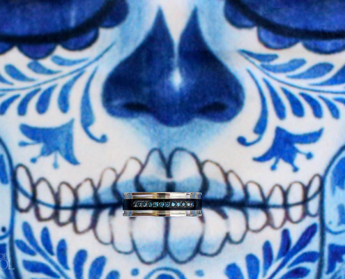COVID Zoom Wedding Mexico face mask blue Day of the Dead Sugar Skull