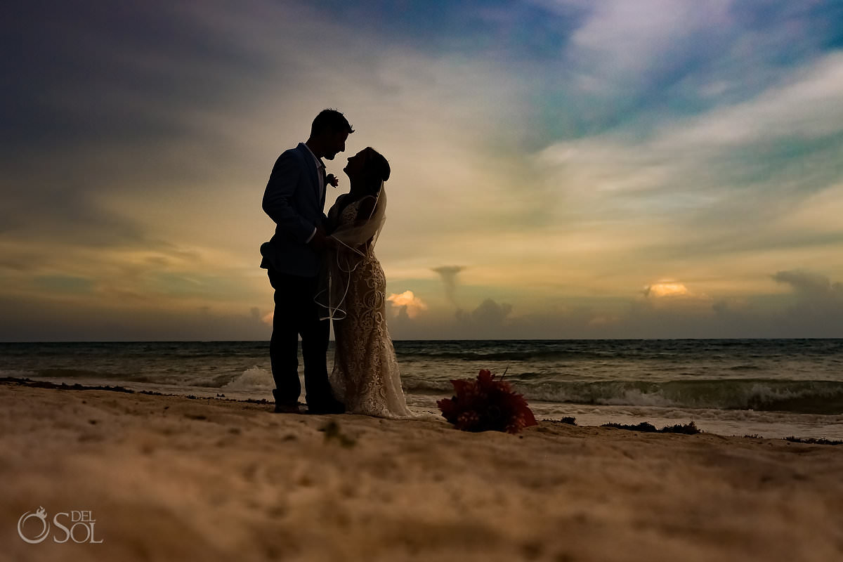 Sunset wedding portrait Dreams Tulum Riviera Maya mexico