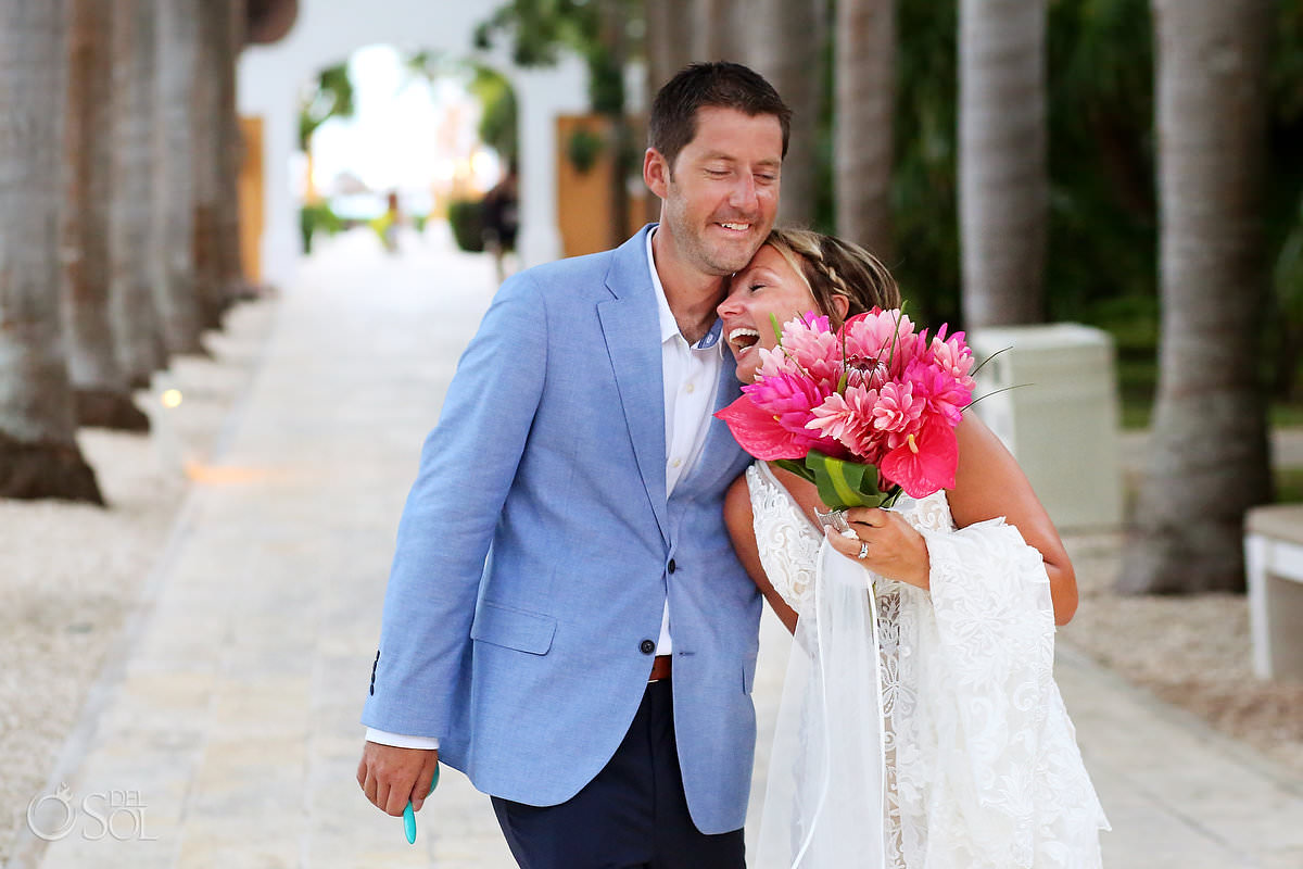 Candid wedding portrait Dreams Tulum Riviera Maya mexico