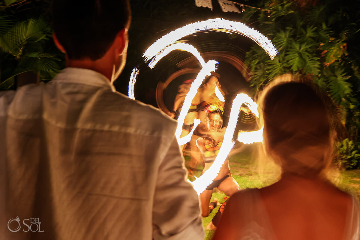Wedding reception entertainment fire dancers Dreams Tulum Secret Garden