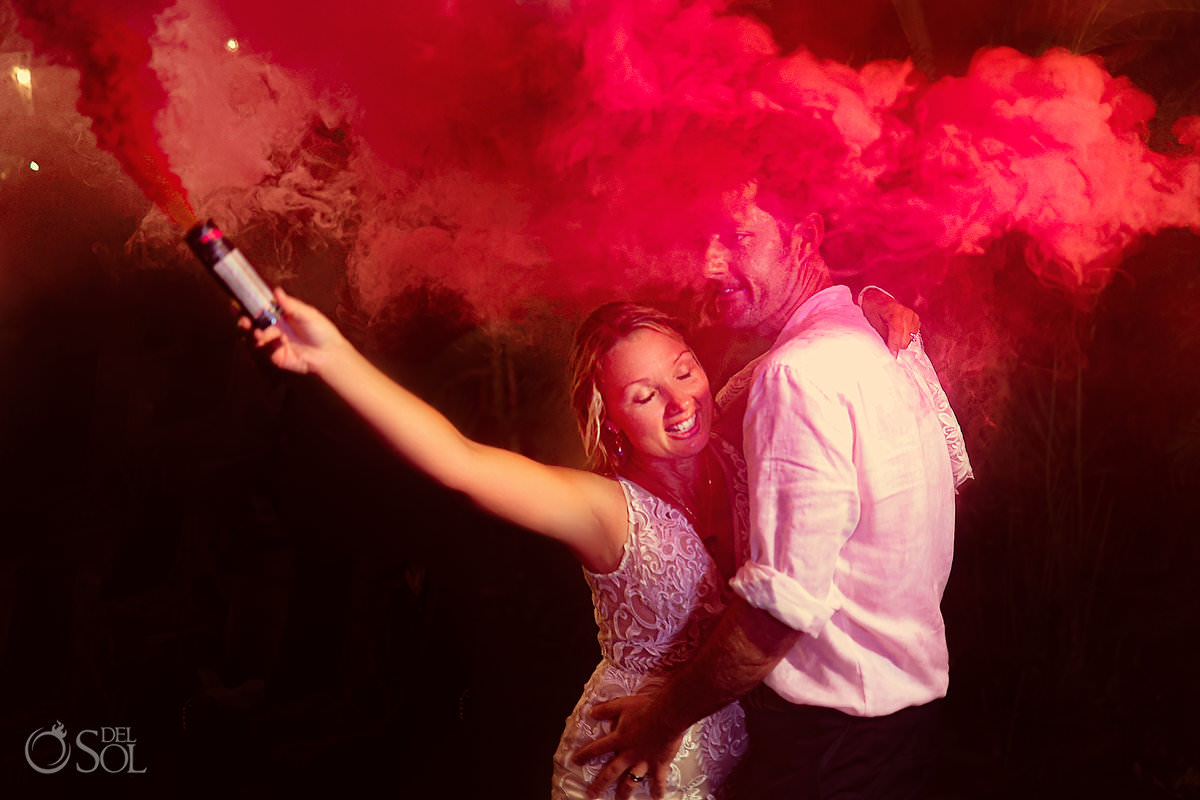 Wedding reception entertainment smoke bombs Dreams Tulum Secret Garden