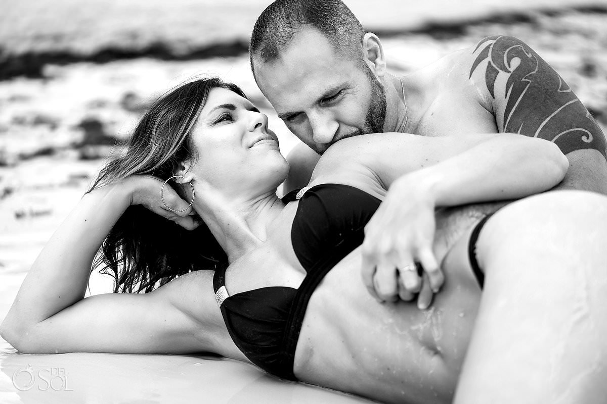Hot beach engagement photo tattooed couple black and white