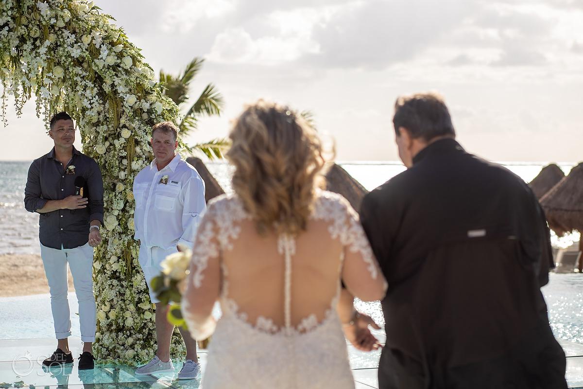 Dreams Natura Wedding Bride entrance first look Infinity pool riviera Cancun Mexcio