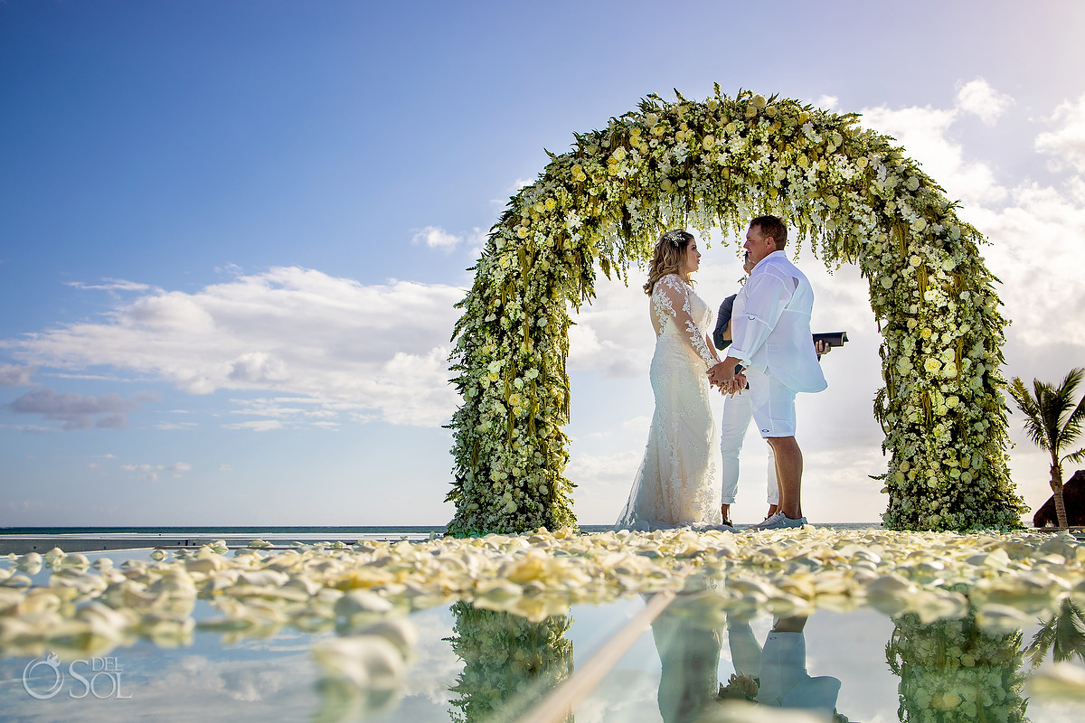 Dreams Natura Wedding Ceremony Infinity Pool flower arch Riviera Cancun Mexico #travelforlove