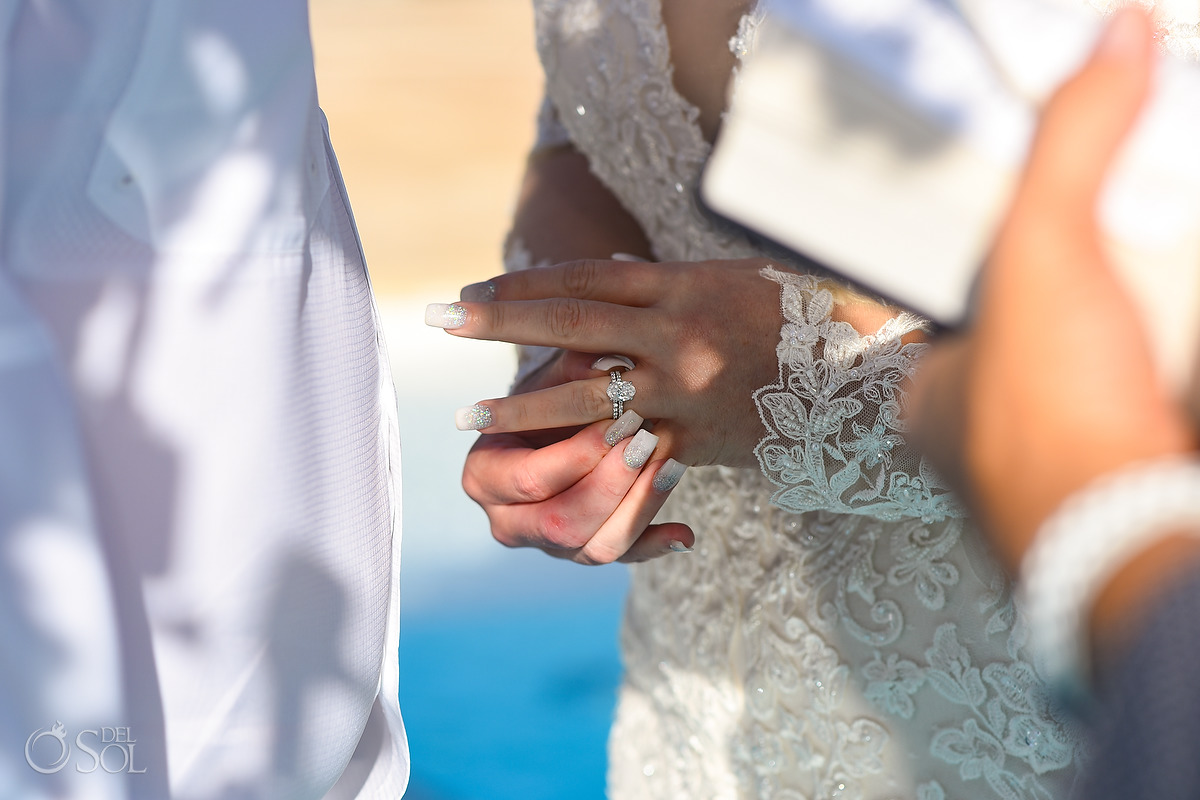 Ring exchange Dreams Natura Wedding Ceremony Infinity Pool Riviera Cancun Mexico