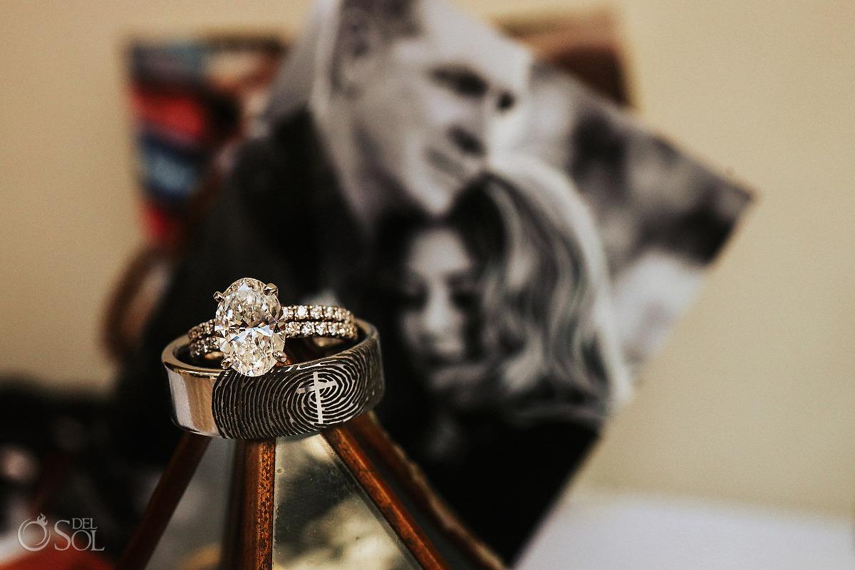 wedding band and engagement ring ideas fingerprint macro photography