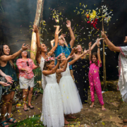 flower blessing Mayan Vow Renewal 10 year anniversary cenote ceremony Riviera Maya Mexico