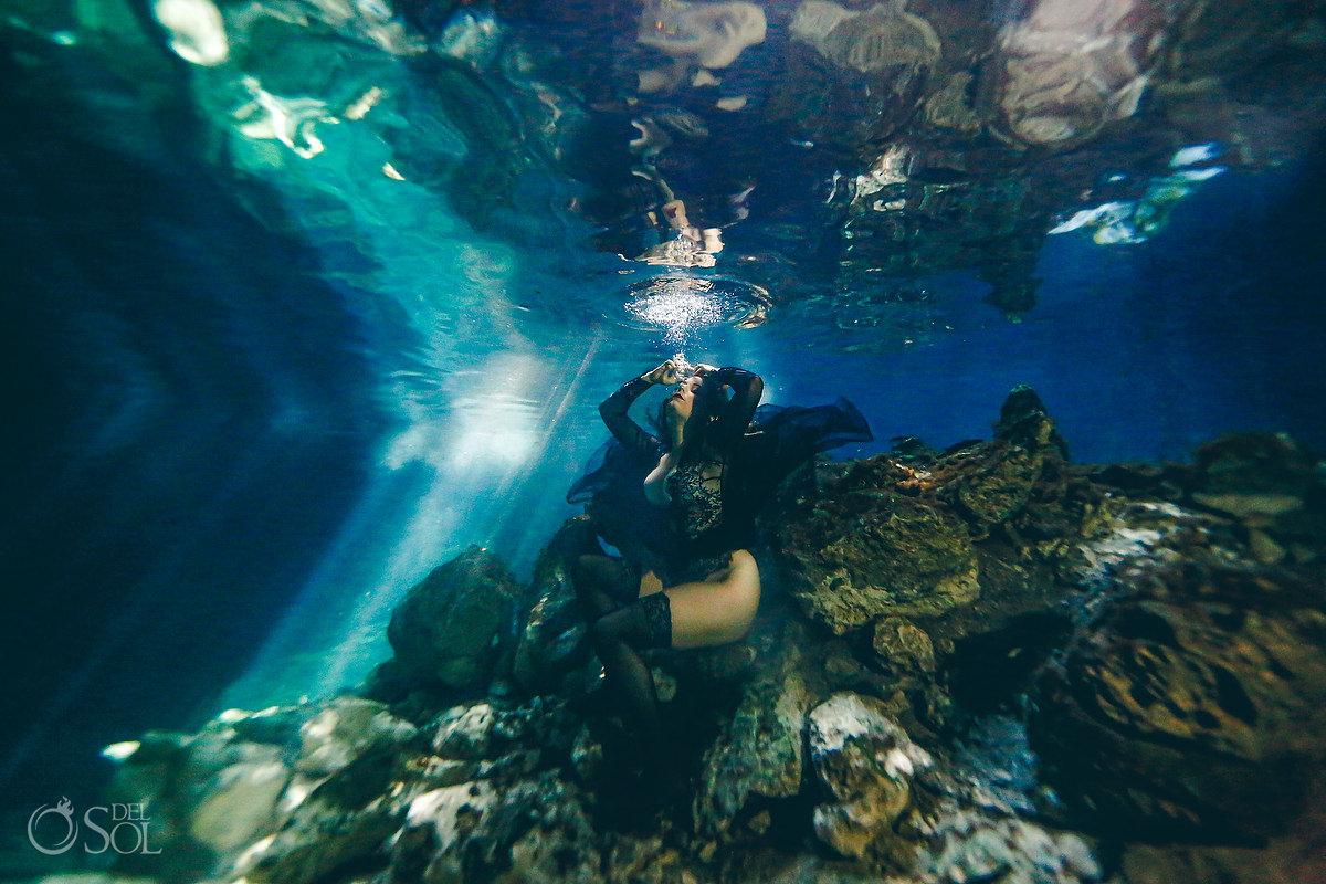 Healing Art Underwater photography portrait session for single women Riviera Maya mexico
