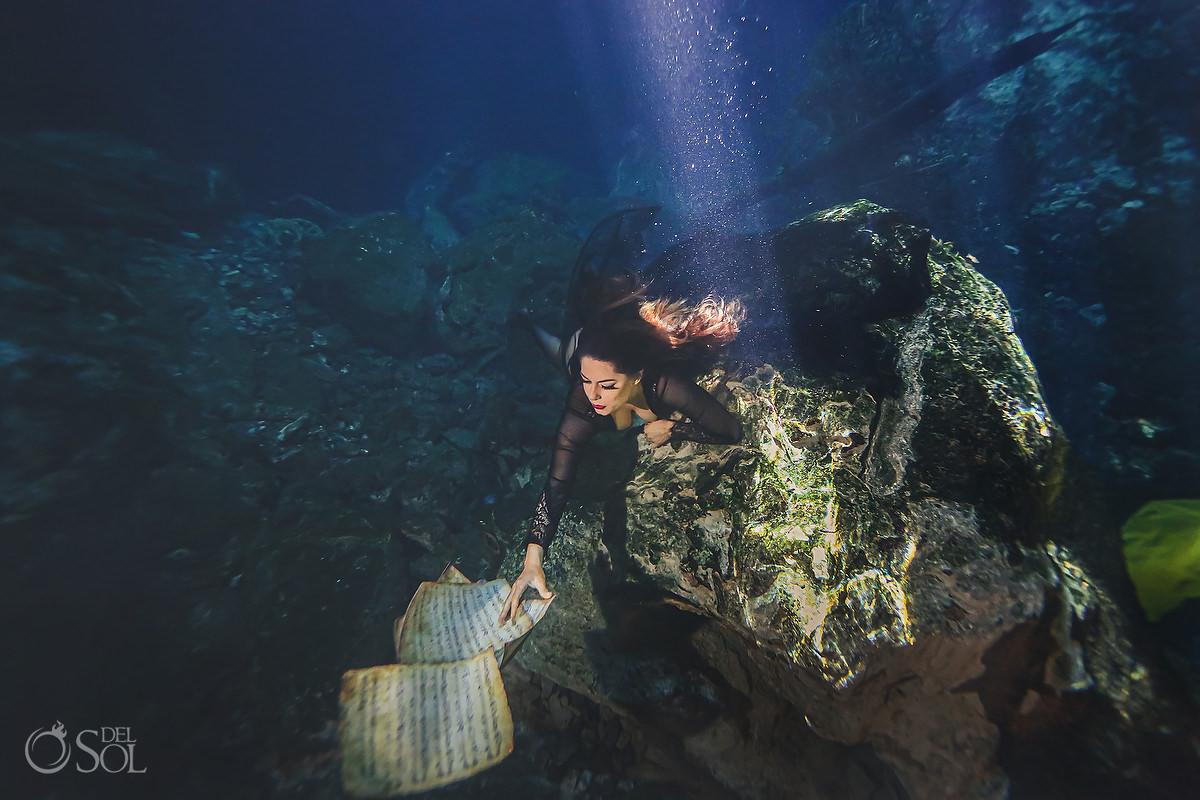 Underwater boudoir creative birthday portrait Riviera Maya Mexico