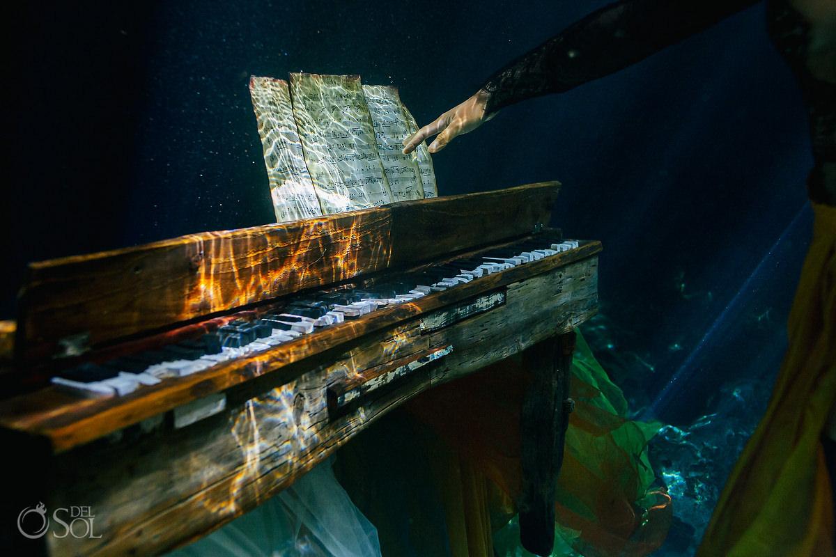Healing art underwater piano made of driftwood
