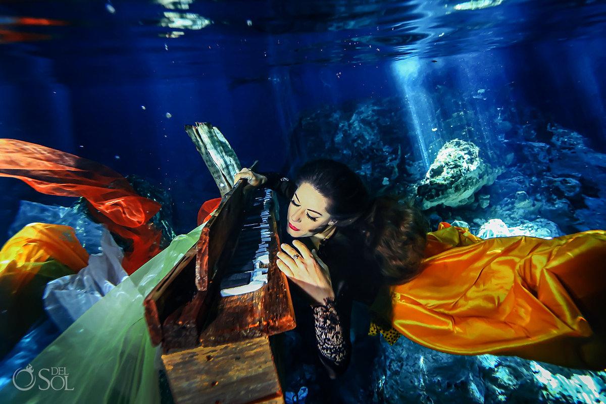 conceptual fine art photoshoot underwater photography piano player Playa del Carmen Mexico
