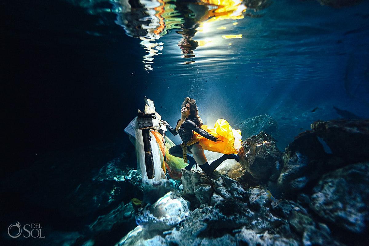 Healing Art Underwater Photography cenote trash the dress Riviera Maya Mexico